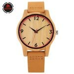 Bohemian Style Movement Round DIal Genuine Leather Wood Watch