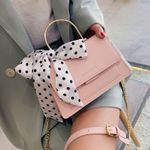 Elegant Bow Ribbon High Quality PU Leather Handbag