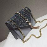 Fashion Sequin Square PU Leather Handbag