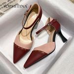 Fashion Patchwork Design Buckle Strap High Quality Heels