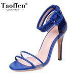 Open Toe Thin Fashion Leather Pattern Heels