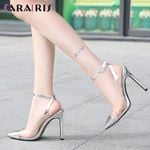 Sexy Pointed Toe Cool Transparent Pachwork Heels