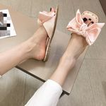 Large Bow Pink Black Cute Rivet Flat Shoes