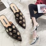Slipper Pointed Toe Dot Metal Flat shoes