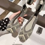 Square Toe Knit Fabric Loafers Breathable Flat shoes