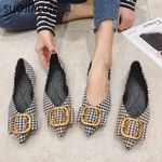 Fashion Buckle Luxurys Pointed Toe Flat shoes