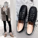 Leather square head single Flat shoes