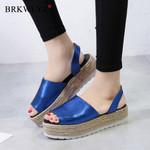 Casual Solid color Flat Slip-on Playform Sandals