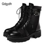 Black Genuine Leather Motorcycle Boots