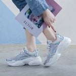 mesh thick-sole rhinestone leisure shoes