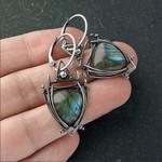 Indian Tribal Geometric Triangle Green Resin Stone Earrings