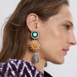 Vintage Gold Flower Water Rhinestone Big Drop Earrings