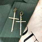 Asymmetric Cross Fashion Pearl Crystal Dangle Earrings