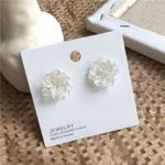 Small and pure and fresh solid resin flowers stud earrings