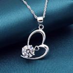Sterling Silver Romantic Shiny Zircon Heart Necklace