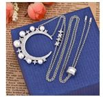 Moon pearl sweater chain necklace