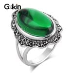 Vintage Ring Green Stone Antique Silver Rings