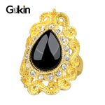 Luxury Black Gold Color Crystal Vintage Ring