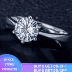 Sterling Silver Round Stone Solitaire Ring