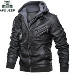 Oblique Zipper Motorcycle Leather Jacket