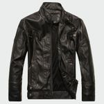 Leather High Quality Classic Motorcycle Bike Cowboy Jacket