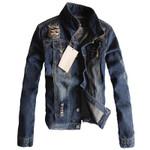 Hole Long-sleeved Cotton Denim Jackets