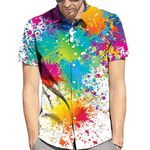 Fashion Rainbow Printed Short Sleeve Shirts