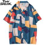 Hip Hop Color Block Geometric Short Sleeve Shirts