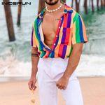 Fashion Colorful Striped Short Sleeve Shirts