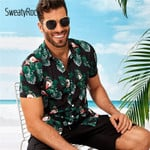 Tropical And Flamingo Print Short Sleeve Shirts