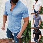 Casual Cotton Linen Casual Short Sleeve Shirts