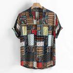 Ethnic Style Vintage Printing Short Sleeve Shirts