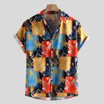 Loose Multi Color Lump Chest Short Sleeve Shirts