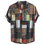 Vintage Ethnic Style Printing Loose Cotton Short Sleeve Shirts
