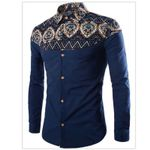 Long Sleeve Casual Patchwork Flower Printed Dress Shirts