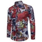 Floral Print Long Sleeve Casual Slim Dress Shirts