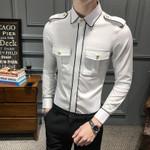 Casual Long Sleeve Social Front Pocket Slim Fit Dress Shirts