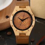 Creative Grain Round Circle Quartz Wood Watches
