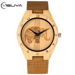 Superb Elephant Engraving Bamboo Wood Watch