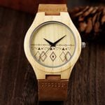 Natural Bamboo Geometry Pattern Display Wooden Watch