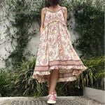 Floral Sundress Vintage Flower Print Bohemian Dress