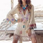 Fashion Floral Embroidery Flare Sleeve Elegant Boho Bohemian Dress