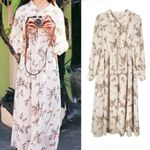 Floral Print Long Sleeve Boho Bohemian Dress