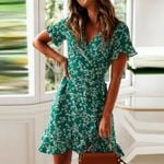 Floral Short Mini Casual Short Sleeve Boho Bohemian Dress