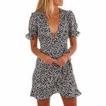 Short Sleeve Wrap Floral Short Boho Bohemian Dress