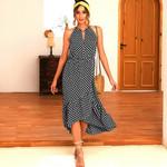 Polka Dot Ruffle Elegant Sleeveless Boho Bohemian Dress