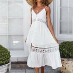 Sleeveless Elegant High waist loose Boho Bohemian Dress