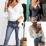 Lace Deep V-Neck Long Sleeve Boho Blouse