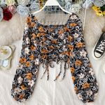 Chiffon Elegant Square Collar Drawstring Long Sleeve Boho Print Blouse
