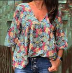 Floral Print Vintage Tunic Flare Sleeve Boho Bohemian Blouse